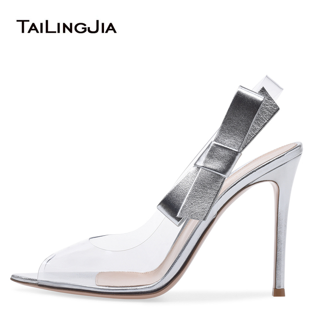 a7b8e8deebc42 Transparent PVC Peep Toe High Heel Slingbacks Sliver Pumps Black Dress Shoes  Green Satin Sandals Ladies Summer Heels with Bow