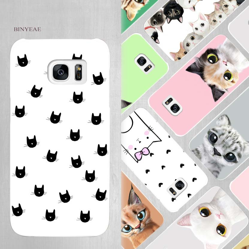 BINYEAE Kawaii Cute Cat Hard White Case Cover for Samsung Galaxy S5 Mini S6 S7 S8 Edge Plus Note 4 5 8