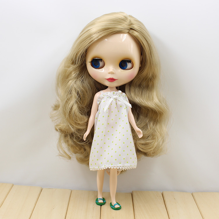 curly long brown hair no bangs white Skin side cut nude doll 260BL3227 fluffy synthetic lolita curly flax mixed gold long side bang capless cosplay wig for women