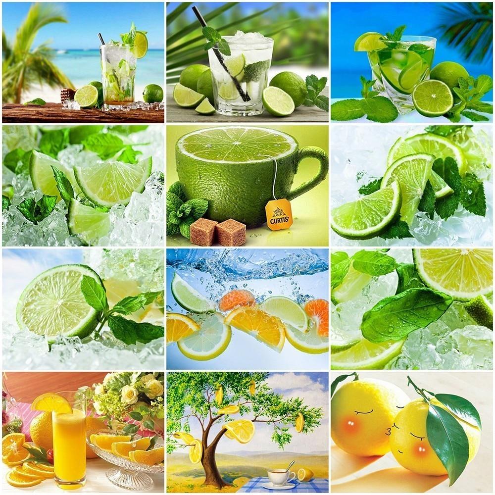 AZQSD Mosaico Diamante Pintura Diamante DIY Limão Frutas Fotos do Ponto da Cruz De Strass Diamante Bordado Decoração Da Cozinha