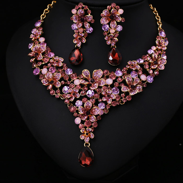 Hot Sale Women Light Pink Crystal Rhinestone Bridal Jewelry Set African Wedding Jewelry Set Big ...