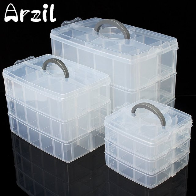 Clear Plastic Craft Beads Jewellery Storage Organiser Compartment Tool Box  Case Home Storage Organization Storage Boxes