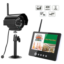 9inch TFT Digital 2.4G Wireless Cameras Outdoor 4CH Quad DVR Monitor Wireless Kit Home CCTV Security System , IR night light