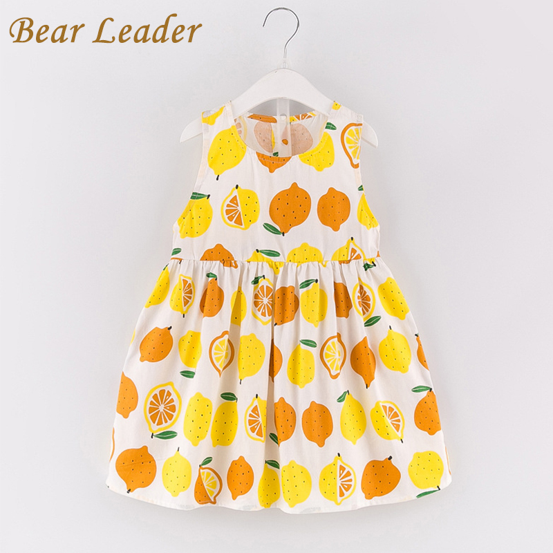 Bear Leader Girls Dress 2017 New Summer Style Princess Dress Sleeveless Fruit Pattern Printing Design for Kids Dresses 3-7years bear leader girls dress 2016 new summer style party dress stella the swallow embroidered sleeveless dress girls princess dress