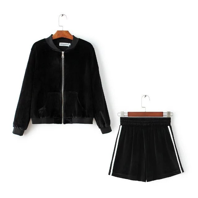 New Arrival Special Offer Full Tracksuits  Women Wholesale Pants Zipper Collar Velvet Jacket Shorts Set