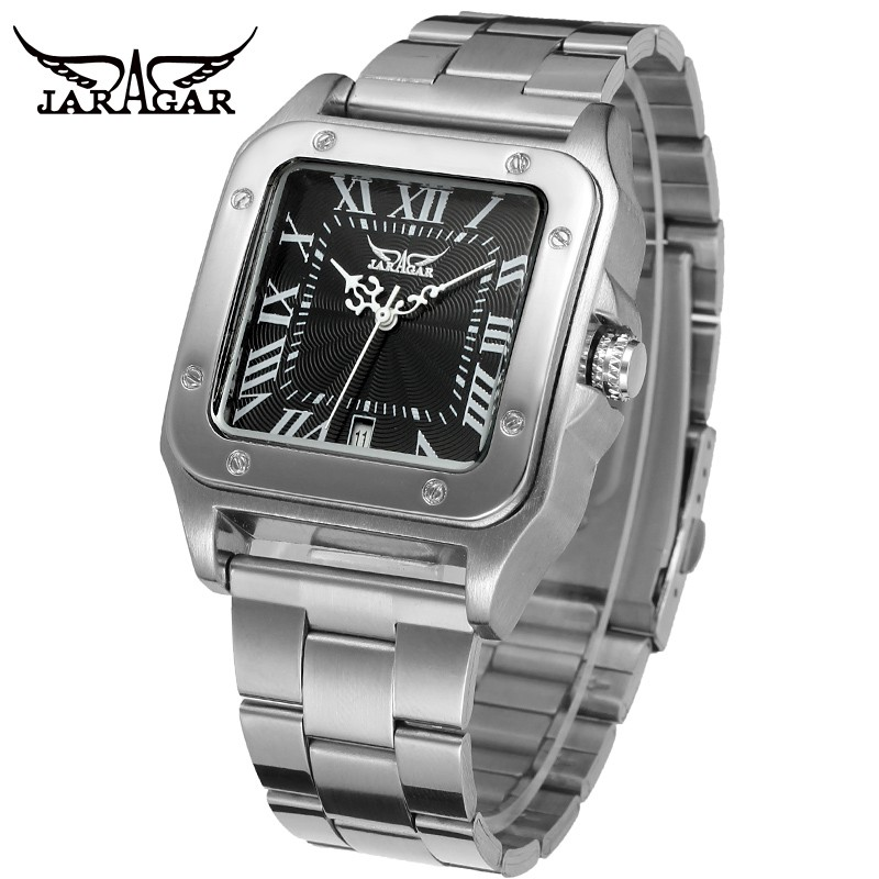 Jaragar Square Watches Mechanical-Wristwatch Clock Stainless-Steel Mens Analog Dress