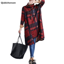 Qiukichonson Plaid Dress Plus Size Women Clothing 2018 Spring Turtleneck Literary Vintage Asymmetric Mori Girl Long Sleeve Dress