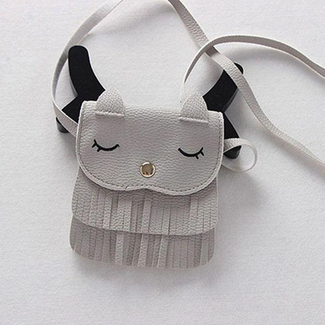 Cute Children Tassel Small Cat Shoulder Messenger Bag Girls Mini Coin Purses PU Leather Handbags Wallet