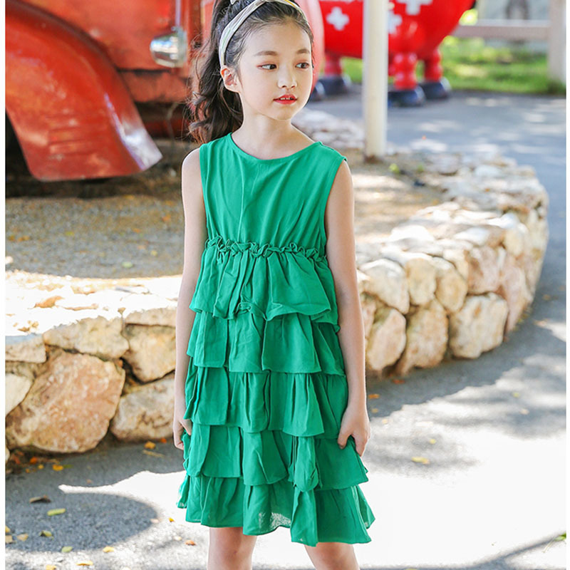 cotton baby girl dress summer clothes girl 2018 new layered big girls princess dresses sleeveless party green kids clothing summer 2017 new girl dress baby princess dresses flower girls dresses for party and wedding kids children clothing 4 6 8 10 year