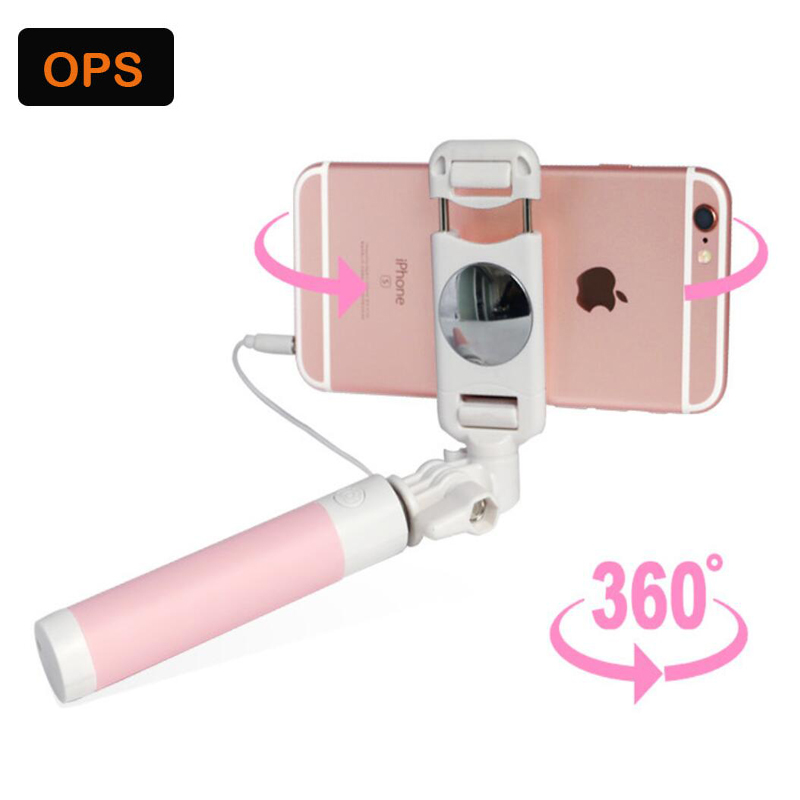 Mini Selfie Stick With <font><b>Button</b></font> Wired Silicone Handle Monopod Universal For iPhone 6 5 Android Samsung Huawei Xiaomi Sticks