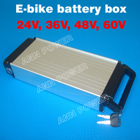 Free Shipping! 24V 36V 48V E bike lithium battery case Electric bicycle li ion battery box Not include the battery