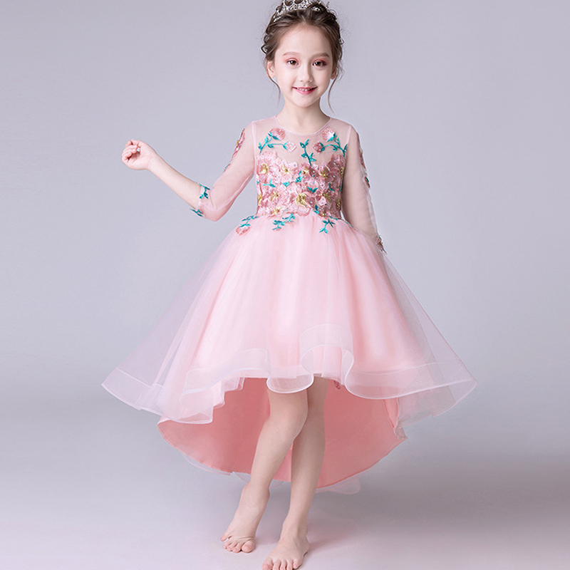 U-SWEAR 2019 New Arrival Kid   Flower     Girl     Dresses   O-neck Half Sleeve   Flower   Appliqued High Low Chiffon   Flower     Girl   Pageant   Dress