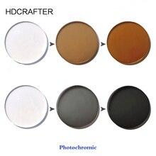 HDCRAFTER 1.56 מדד אפור חום אספריים Photochromic עדשת מרשם קוצר ראיה פרסביופיה עדשה אופטית מותאם אישית
