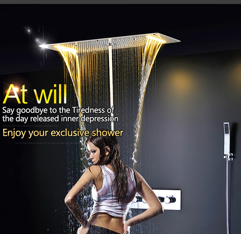 Luxury Shower Set Accessories Ceiling Multifunction Led Strip Shower Head Set with Rainfall Waterfall Spray Mist Water Column (3)