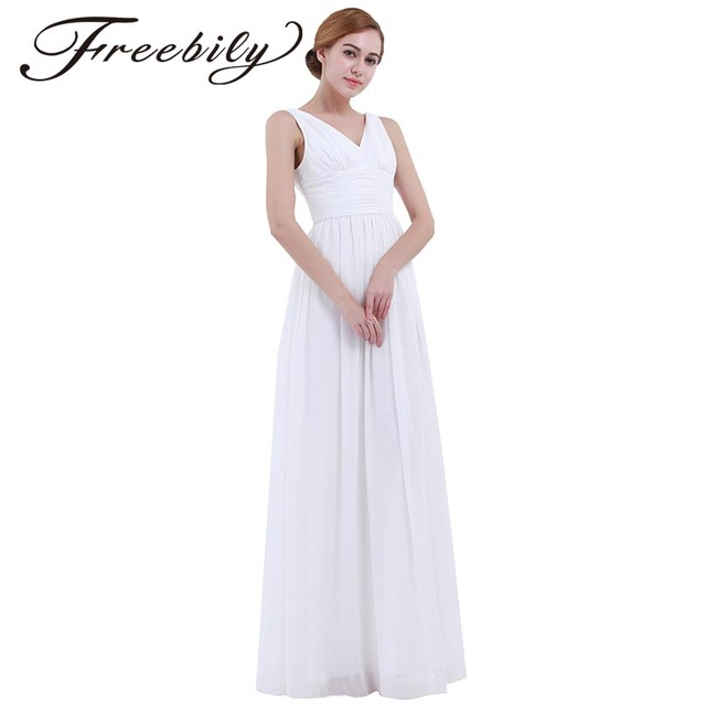 6b3e339e806a1 2018 Summer Fashion Women White Long Maxi Dress Vestido De Festa Sleeveless  Chiffon Casual Long Dress Wedding Party A Line Dress-in Dresses from ...