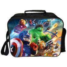3D Picnic Bag Lego Movie Lunch Bags Cartoon Ninjago Batman Deadpool Iron Man Captain America Pattern Thermal Insulated Cool Bags(China)