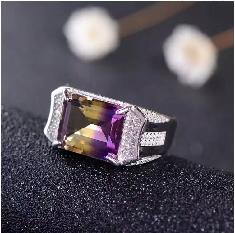 где купить Free shipping Natural Ametrine Man Ring 925 sterling silver Wholesales Fine jewelry по лучшей цене