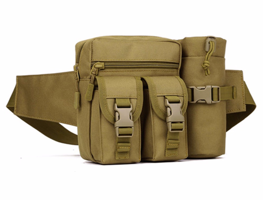 Outdoor Men Tactical Military Travel Hiking Water Bottle Fanny Pack Waist Bag