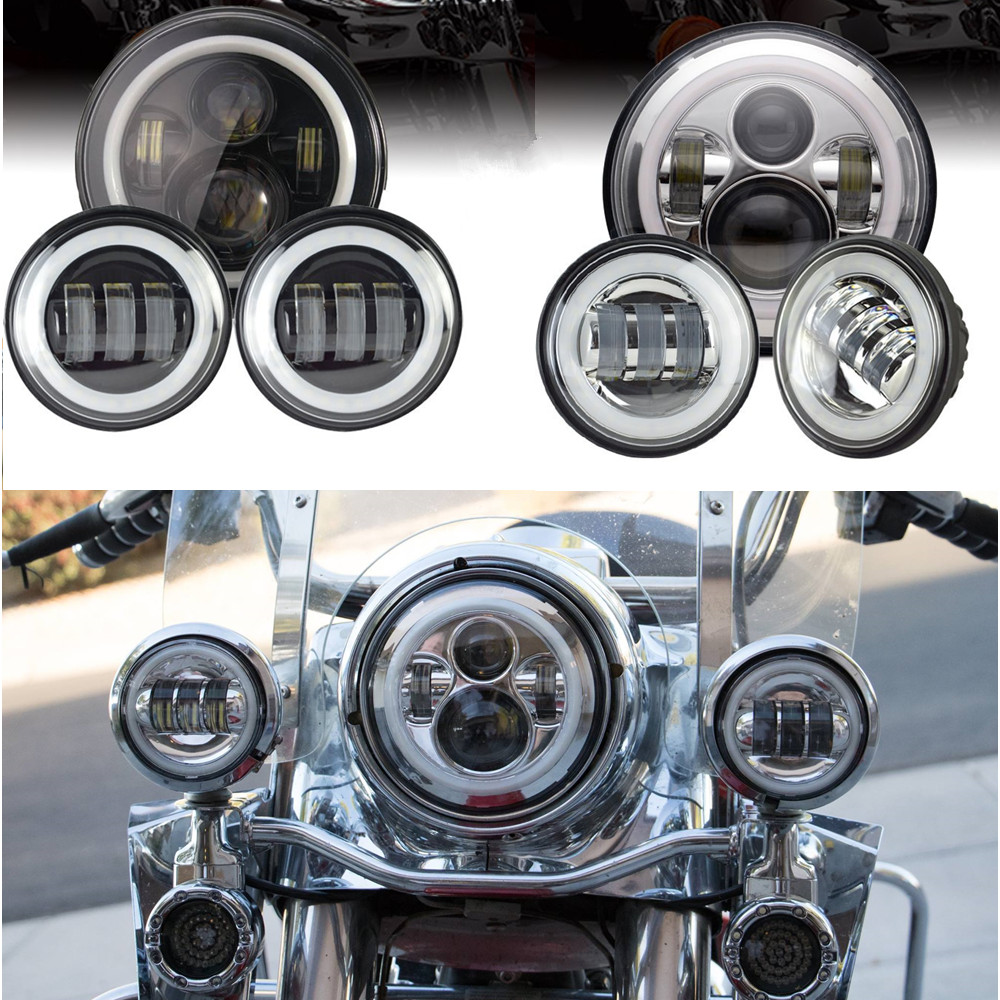 Set Of Red Halo Ring 7 Round LED Projector Daymaker Headlight + 4.5 Passing Lights with Red DRL For Harley Touring partol 7 round led projector black headlight pc lens with drl for h d fld trike touring softail flhtcuse 7 sealed beam