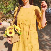 Japanese Soft Sister Summer New Cute Little Flowers Printed High Waist Cotton Linen Round Neck Doll