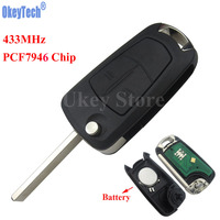 OkeyTech Car Flip Remote Key Fob 2 Button 433Mhz PCF7946 For Vauxhall Opel Astra H 2004