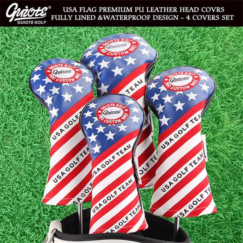 USA GOLF TEAM Woods HeadCovers Driver Fairways Hybrid Covers Set Vintage Series 135H 4pcs/lot For Men Women