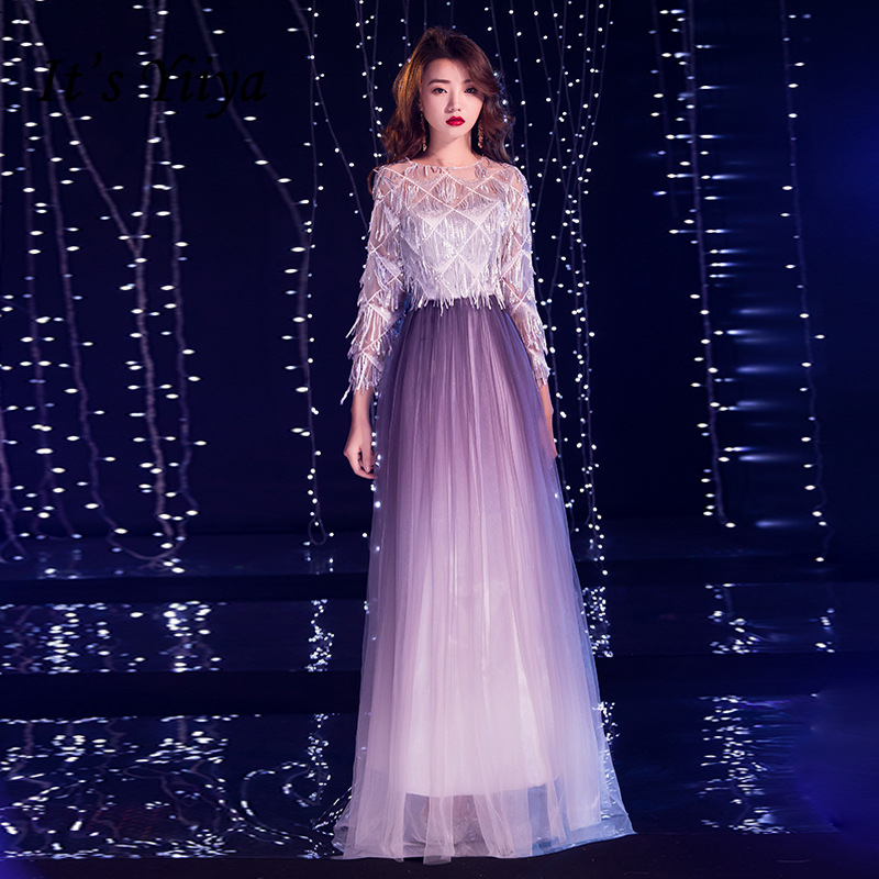 It's YiiYa   Prom   Gowns Gradient Purple Tassel Tulle A-line Floor Length Plus size O-neck Full Sleeves   Prom     Dresses   Long E439