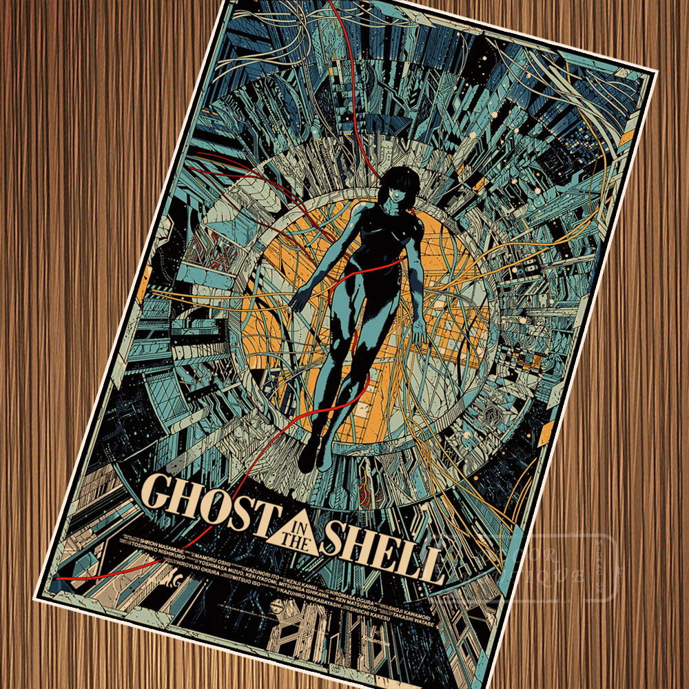 Pop Cartoon Ghost In The Shell Vintage Retro Kraft Movie Propaganda Poster Canvas Painting Wall Sticker Home Decoration Gift Wall Sticker Stickers Home Decorstickers Home Aliexpress