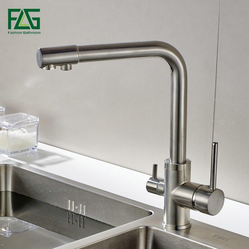 FLG фильтр для воды Кухня кран Матовый Никель коснитесь 360 Вращение с очистки воды Особенности краны для питьевой Кухня смеситель