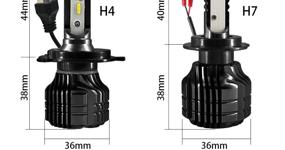 HLXG 2Pcs 9000LM H4 led 4300K Yellowish CSP Chips H11 H8 LED H7 H1 H3 52W 9000LMset 9005 HB3 9006 HB4 Bulbs Car Headlight 6000K (21)