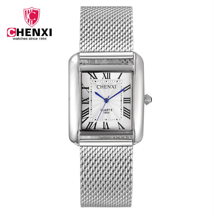 Mens Watches Top Brand Luxury CHENXI Men Business Wristwatch Stainless Steel Mesh band Square Quartz Watch relogio masculino luxury brand biden mens watches multi time zone casual quartz wrist watch men mesh stainless steel band relogio masculino