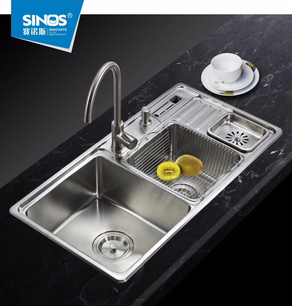 Counter Top Sinks: Thickened Quality 304 Stainless Steel Handmade Double