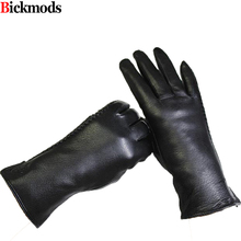 Guantes Eldiven Female Leather Gloves Deerskin Glove Side Embossing Style Velvet Lining Warm Autumn And Winter Free Shipping