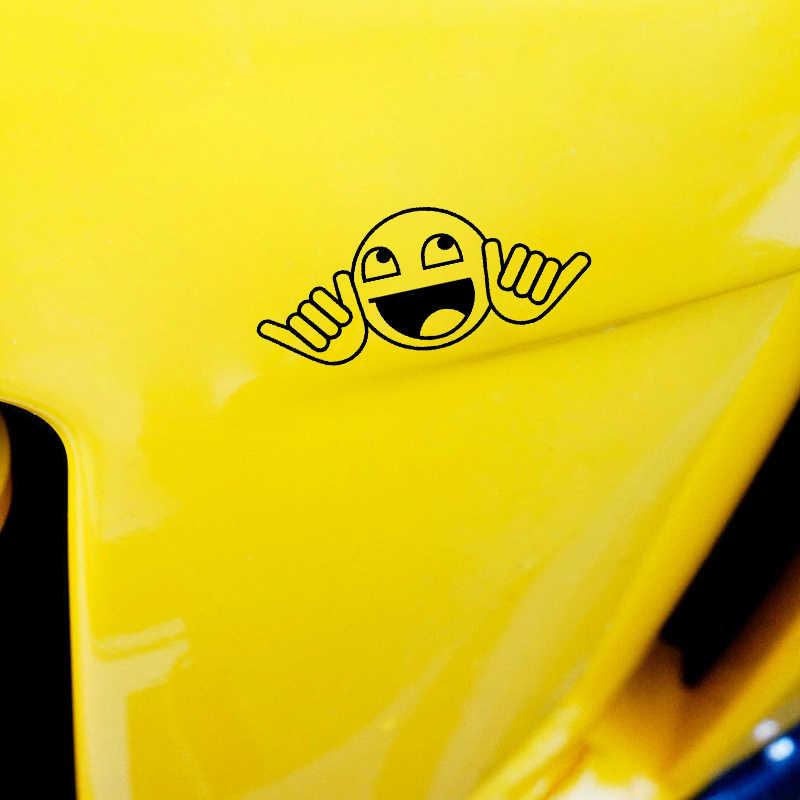 YJZT 13.5 سنتيمتر * 5.7 سنتيمتر لا تقلق مبتسم الوجه سيارة ملصق الفينيل صائق الأسود/الفضة C3-0399