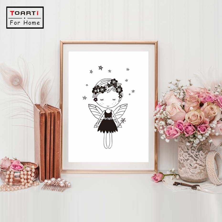 Fairy Girl Room Nordic Poster Wall Art Canvas Painting Nordic Style Kids Decoration Wall Pictures For Living Room Unframed