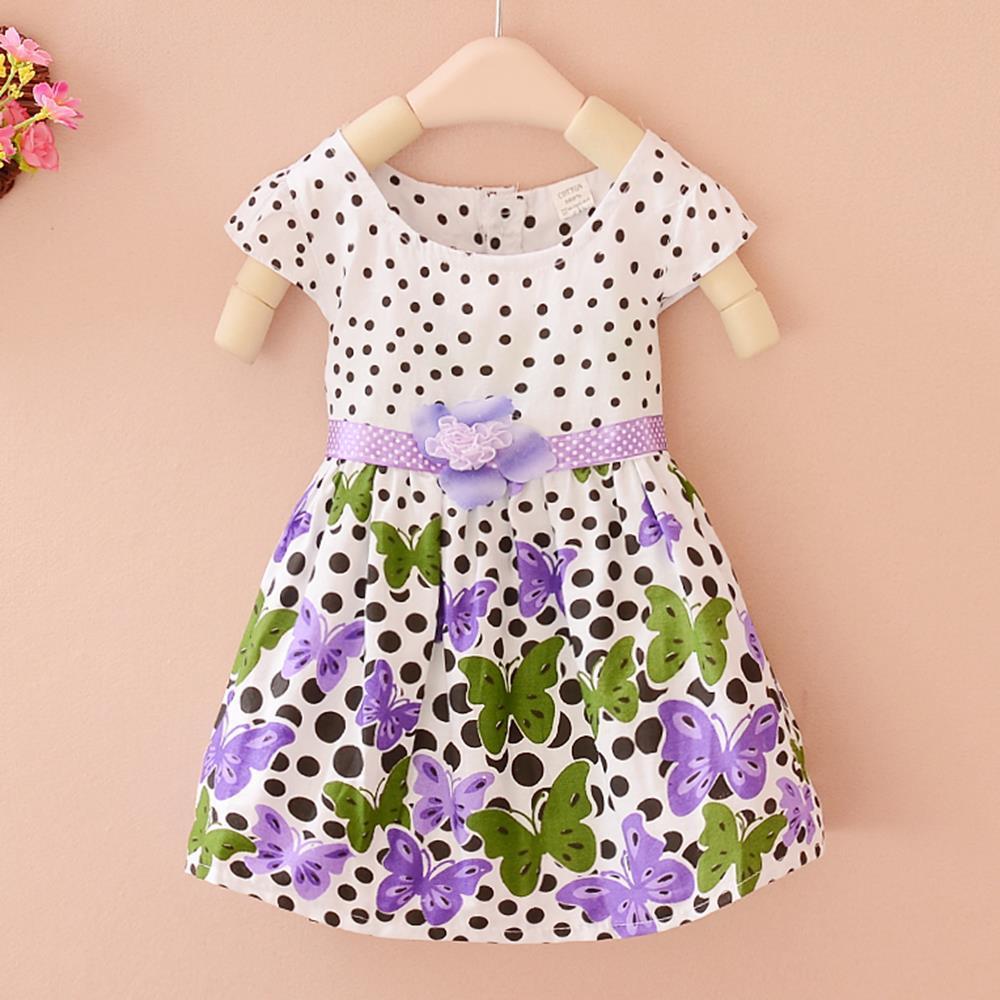 Summer Baby Girls Kids Short Sleeve Dress Polka Dots Butterfly Princess One-piece Dresses New