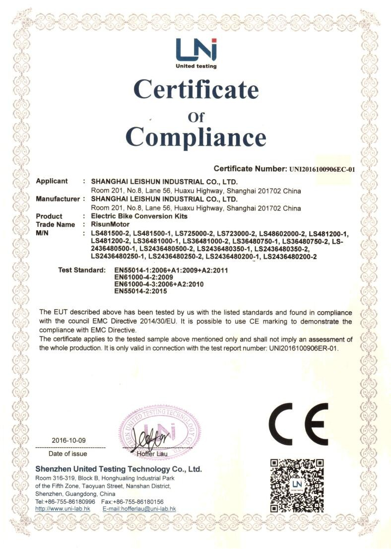 ebike conversion kits CE Certificate EMC