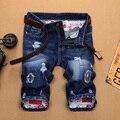 Denim Do Punk Rasgado Mens HoleFashion Primavera Verão New design Casual Calças de Algodão Em Linha Reta Calças Bolso Dos Homens calças de Brim Curtas para os homens