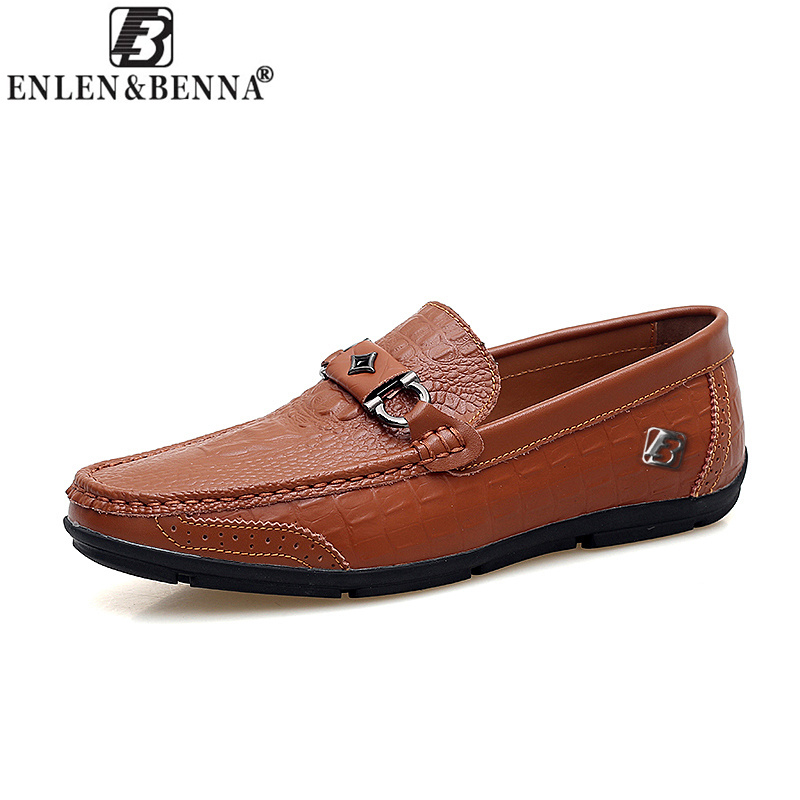 Casual Men Shoes Slip-On Spring and Autumn Handmade Genuine Leather Loafers Fashion Breathable Driving Slip On Moccasins 9859 men s crocodile emboss leather penny loafers slip on boat shoes breathable driving shoes business casual velet loafers shoes men