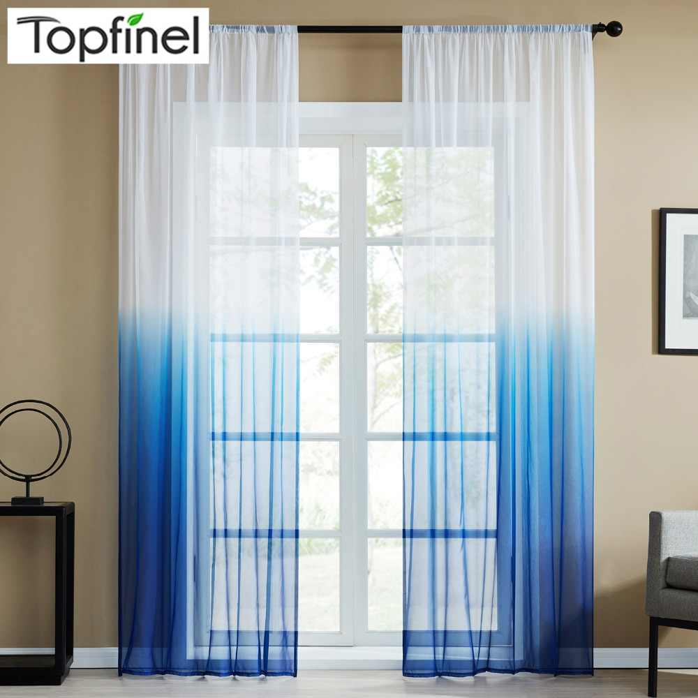 4e261d352e09 Topfinel Blue Gradient Print Voile Sheer Curtains For Living Room Bedroom  Kitchen Home Decorative Tulle on