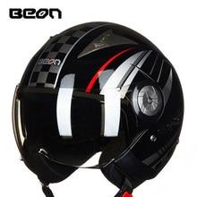 BEON fashion motorcycle helmet retro helmet double lens