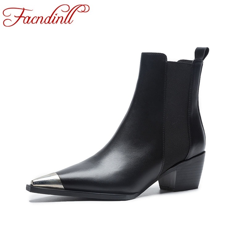 FACNDINLL brand shoes 2018 new autumn boots shoes ankle boots for women high heels sexy pointed toe black leather ankle boots