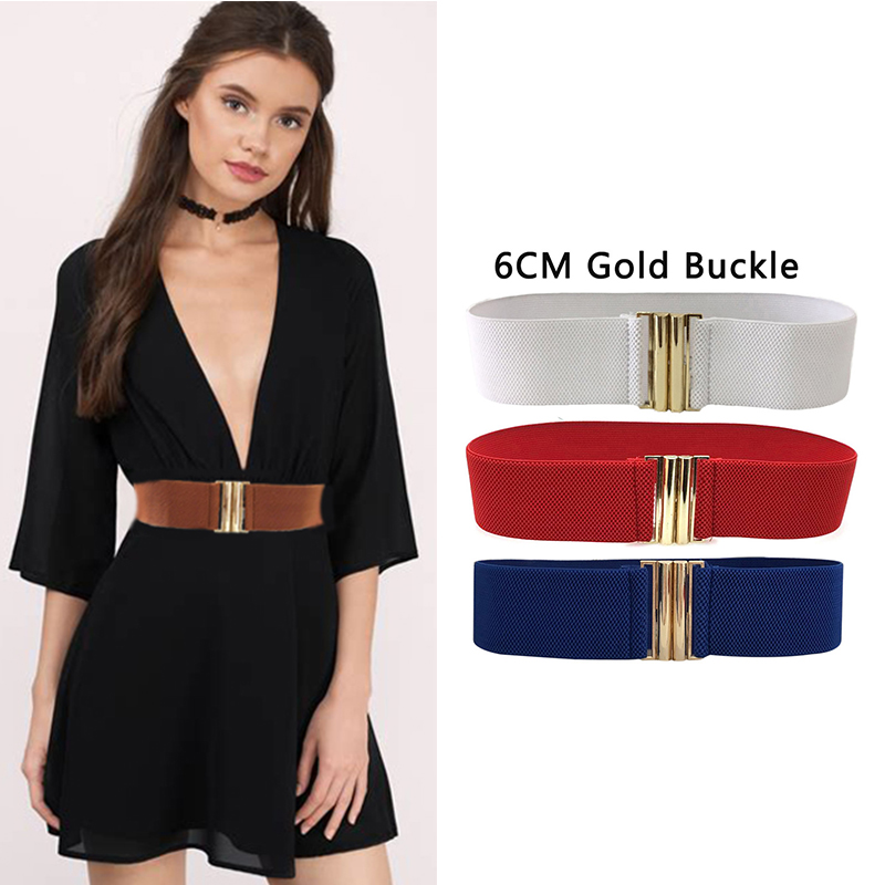 Seabigtoo Fashion Retro Elastic   Belt   Women Wide   Belt   Wild Simple Hot Sale Metal Gold Buckle High Quality With Skirt Dresses