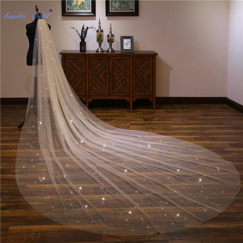 Sapphire Bridal Wedding Accessories Light Champagne 4m Sequined Wedding Veil Long Velo De Novia 1 Tier Bridal Veil With Comb