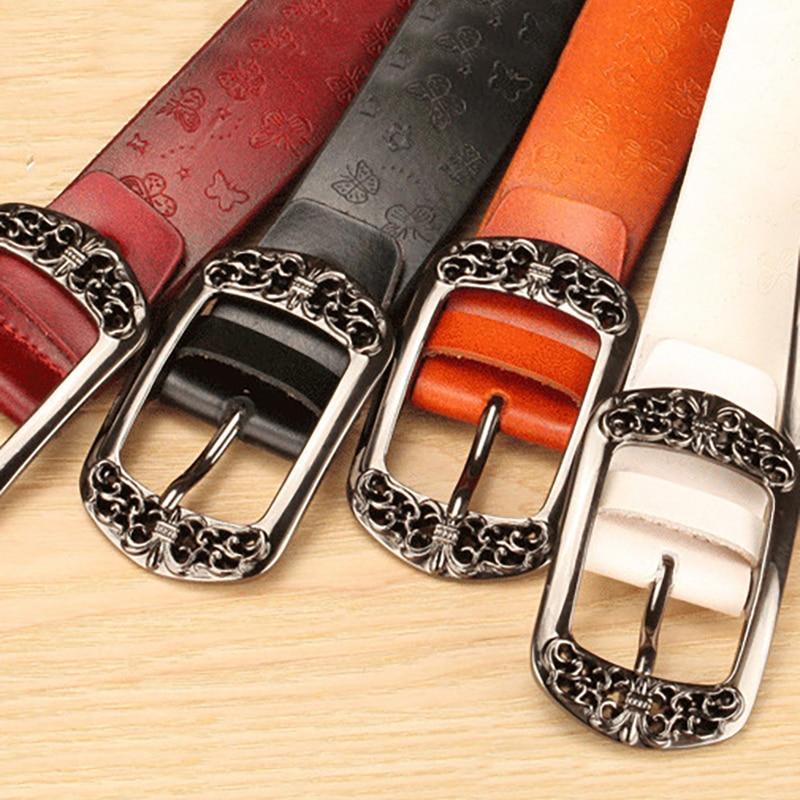 NO.ONEPAUL Pure cowhide antique pin Woman's   Belt   for Women   Belt   Fall Winter Trendy Girls Decorative   Belt   Metal Straps Waistband