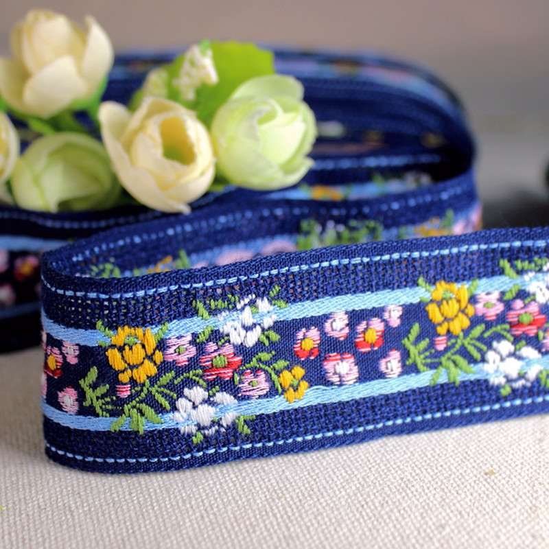 3 méteres 3.5cm szélességű nemes hímzett kék virágszalag Női galléros fejpánt ruházati díszítés poliészter pamutszövet