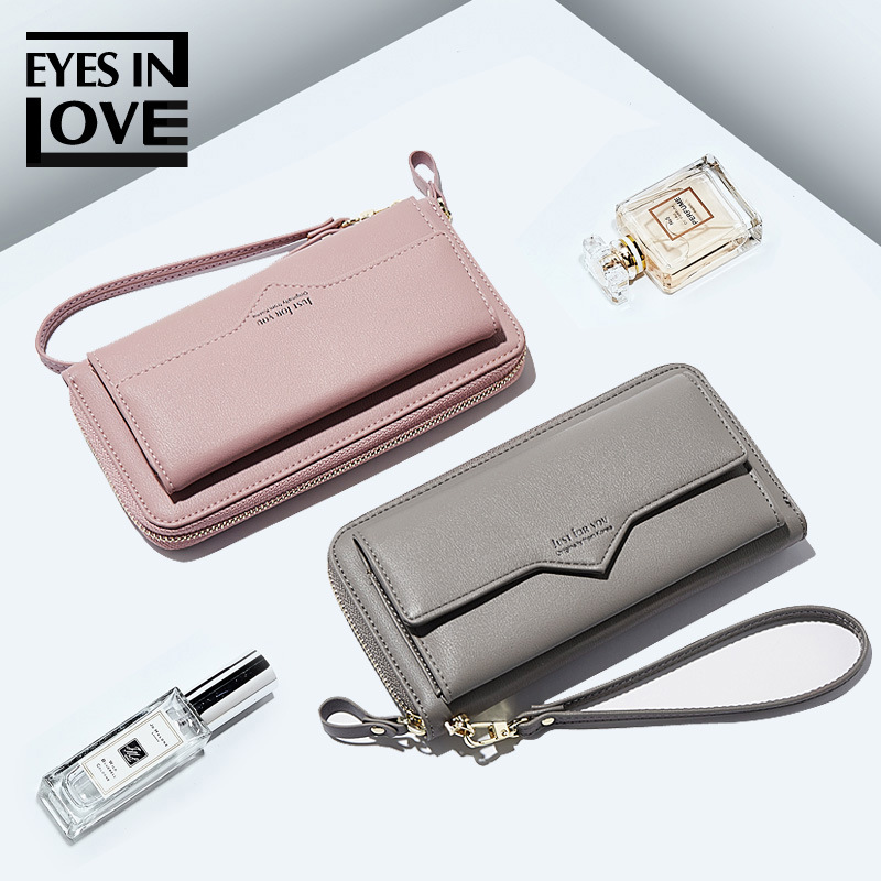 New 2018 ladies wallets, Japan, Europe and America, simple zipper, long card, large capacity pocket change bag. ladies handbag 2018 new simple large capacity zipper waller long tern fashion women style