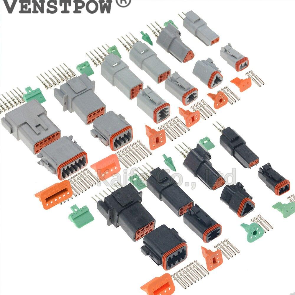 DT 4 Pin Connector Kit 16-20 AWG Kit Waterproof Electrical Terminal Block Kit 5 Set