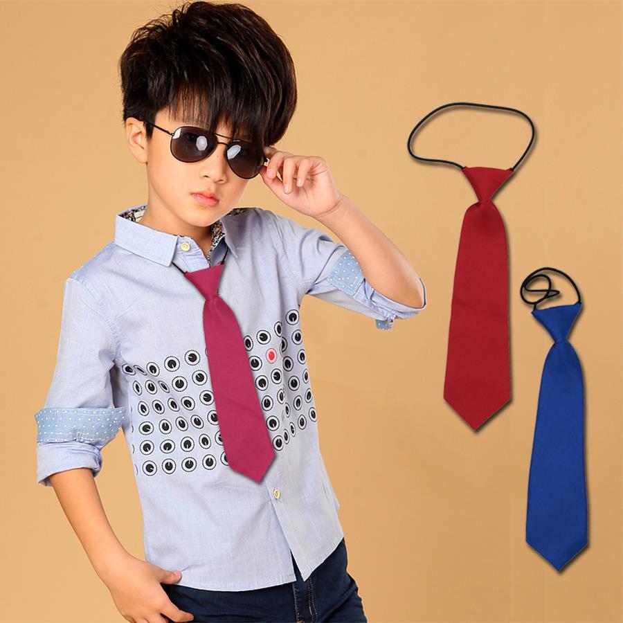 VEEKT 1 kus Předšité Dětské kravaty Móda Štíhlá Úzké lesklé pevné chlapce Dívky Kravatý Skinny Pevná 7cm Černá Červená Modrá Cravata