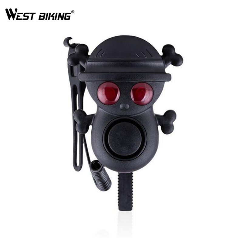WEST BIKING Bicycle Electric Horn High Decibel 120dB Cycling Bicycle Bell With Warning Light Multi-tone Waterproof Horn Bells